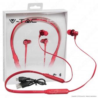 V-Tac VT-6166 Coppia di Auricolari Bluetooth Sports Earphones Colore Rosso - SKU 7711