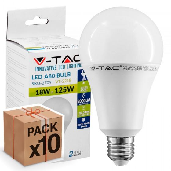 10 Lampadine LED V-Tac VT-2218 E27 18W Bulb A80 - Pack Risparmio