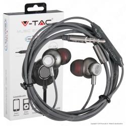 V-Tac VT-1032 Coppia di Auricolari con Microfono e Jack 3,5mm Colore Grigio - SKU 7706