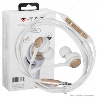 V-Tac VT-1132 Coppia di Auricolari con Microfono e Jack 3,5mm Colore Bianco/Oro - SKU 7707