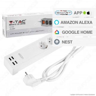 V-Tac Smart VT-5018 Multipresa Wi-Fi 3 Posti con 4 USB Colore Bianco con Interruttore - SKU 8447