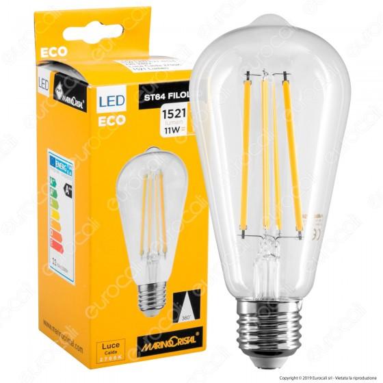Marino Cristal Serie ECO Lampadina LED E27 11W Bulb ST64 Filament - mod. 21560