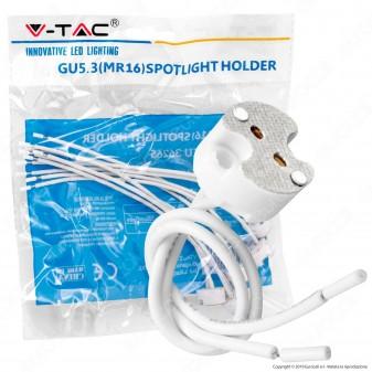 V-Tac VT-7888 Confezione di 5 Portalampade in Ceramica per Lampadine GU5.3 MR16 con Cavi - SKU 36265