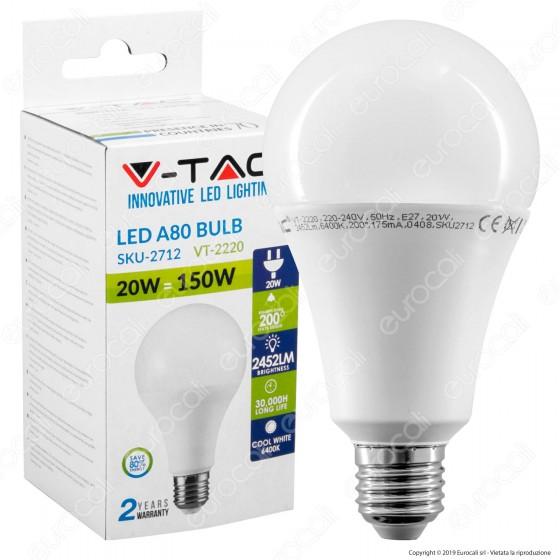 V-Tac VT-2220 Lampadina LED E27 20W Bulb A80 - SKU 2711 / 2712