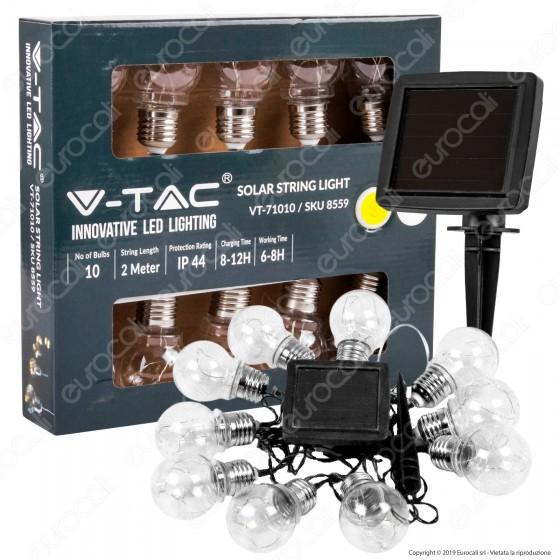 V-Tac VT-71010 Catena da 10 Lampadine con MicroLuci LED con Pannello Solare - SKU 8559