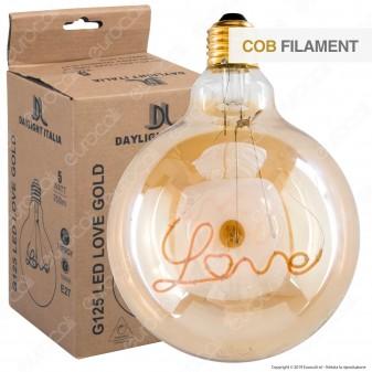 Daylight Lampadina E27 Filamento LED Scritta Love Cuore 5W Globo G125 Vetro Ambrato Dimmerabile - mod. 700216.0DA