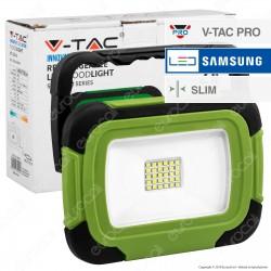 V-Tac PRO VT-20R Faro LED SMD 20W Multifunzione Ricaricabile a Batteria con Chip Samsung - SKU 504
