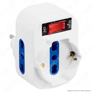 CFG Multipresa Adattatore Triplo Colore Bianco con Protezione Ripristinabile e Spina Rotante - mod. ES012