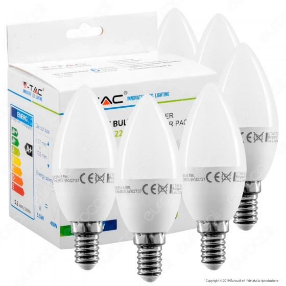 V-Tac VT-2246 Super Saver Pack Confezione 6 Lampadine LED E14 5,5W Candela - SKU 2737 / 2738