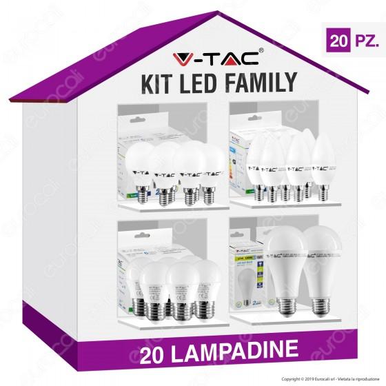 V-Tac Kit LED Family Super Risparmio - 20 Lampadine E14 e E27 da 5,5W a 15W