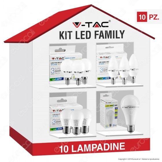 V-Tac Kit LED Family Risparmio - 10 Lampadine E14 e E27 da 5,5W a 15W