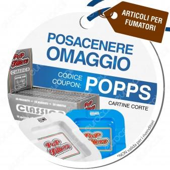 Posacenere Omaggio con Cartine Corte Pop Filters - Codice POPPS