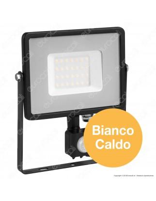 V-Tac PRO VT-30-S Faretto LED 30W Ultra Sottile Slim Chip Samsung con Sensore Colore Nero - SKU 460 / 461 / 462