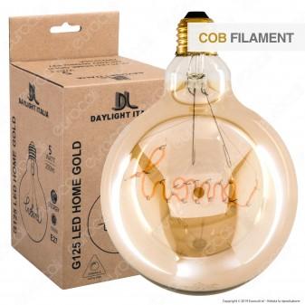 Daylight Lampadina E27 Filamento LED Scritta Home 5W Globo G125 Vetro Ambrato Dimmerabile - mod. 700233.00A