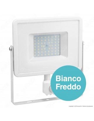 V-Tac PRO VT-50-S Faretto LED 50W Ultra Sottile Slim Chip Samsung con Sensore Colore Bianco - SKU 468