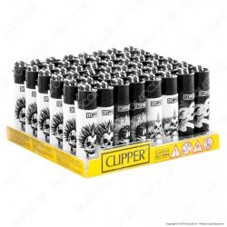 Clipper Micro Fantasia Punky Skulls - Box da 48 Accendini