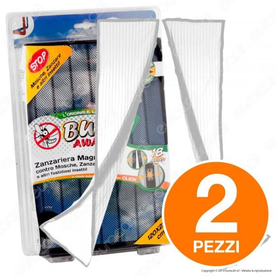 Kit 2 Buzz Away Intergross Zanzariera Magnetica con Chiusura Automatica Colore Bianco