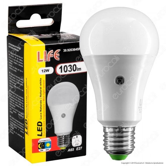Life Lampadina LED E27 12W Bulb A65 con Sensore Crepuscolare - mod. 39.920364SN