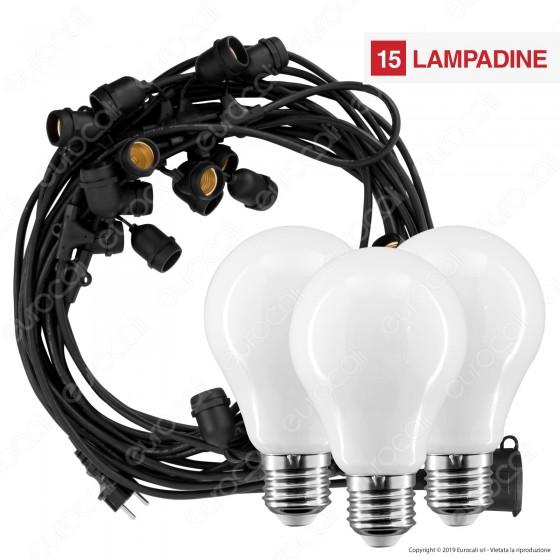 Kit Catenaria 15 metri V-Tac VT-713 con 15 Lampadine LED E27 Filament Interurope 8W