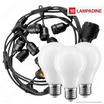 Kit Catenaria 5 metri V-Tac VT-7135 con 10 Lampadine LED E27 Filament Interurope 8W