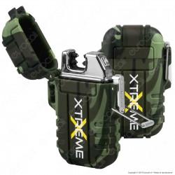 Silver Match Accendino USB con Doppio Arco al Plasma Impermeabile - 1 Accendino Verde Militare