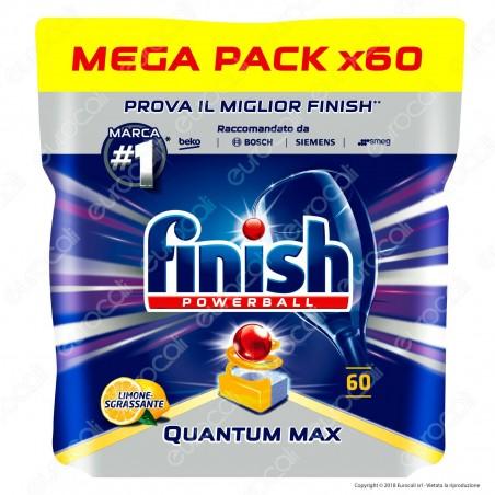 Finish Powerball Quantum Max al Limone per Lavastoviglie - 60 Pastiglie