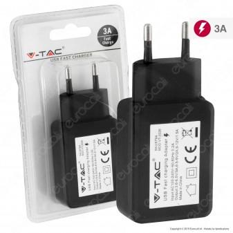 V-Tac VT-1026 Caricabatteria USB da Muro Fast Charge Colore Nero - SKU 8794