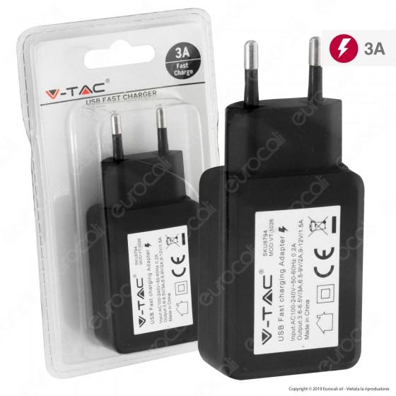 V-Tac VT-1026 Spina Caricabatteria USB Fast Charge Colore Nero - SKU 8794