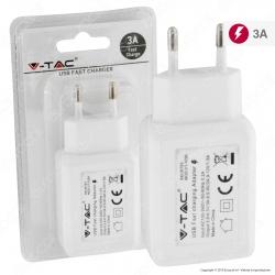 V-Tac VT-1026 Caricabatteria USB da Muro Fast Charge Colore Bianco - SKU 8793