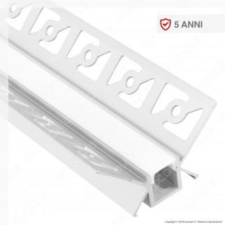 V-Tac VT-8104 Profilo Angolare in Alluminio a Scomparsa per Strisce LED - Lunghezza 2 metri - SKU 3362
