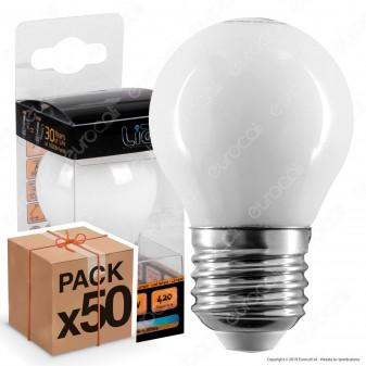 50 Lampadine LED Intereurope Light E27 4W MiniGlobo G45 Bianca Filamento - Pack Risparmio