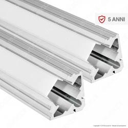 V-Tac 2 Profili Angolari in Alluminio per Strisce LED Copertura Opaca - Lunghezza 2 metri - SKU 99562