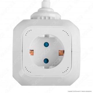V-Tac Multipresa Salvaspazio 4 Posti e 2 Prese USB Colore Bianco - SKU 8800