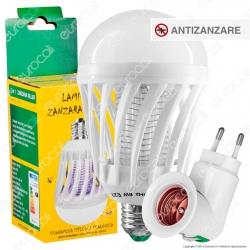 Kit Lampadina LED E27 7W Zanzara Killer 2in1 + Portalampada Attacco E27