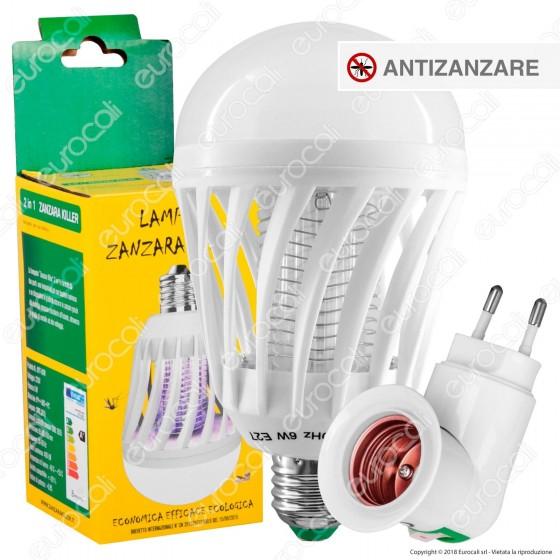 Kit Lampadina LED E27 9W Zanzara Killer 2in1 + Portalampada Attacco E27