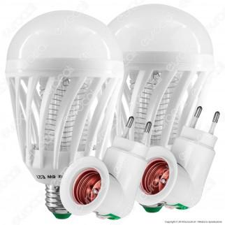 Kit 2 Lampadine LED E27 7W Zanzara Killer 2in1 + 2 Portalampada Attacco E27