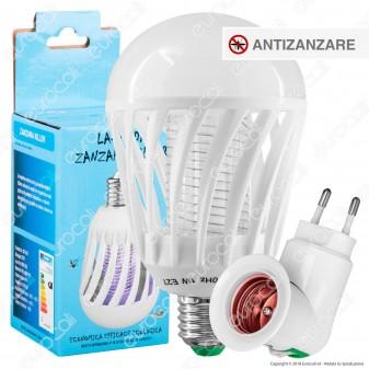 Kit Lampadina LED E27 1W Zanzara Killer + Portalampada Attacco E27