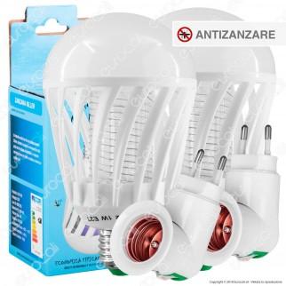 Kit 2 Lampadine LED E27 1W Zanzara Killer + 2 Portalampada Attacco E27