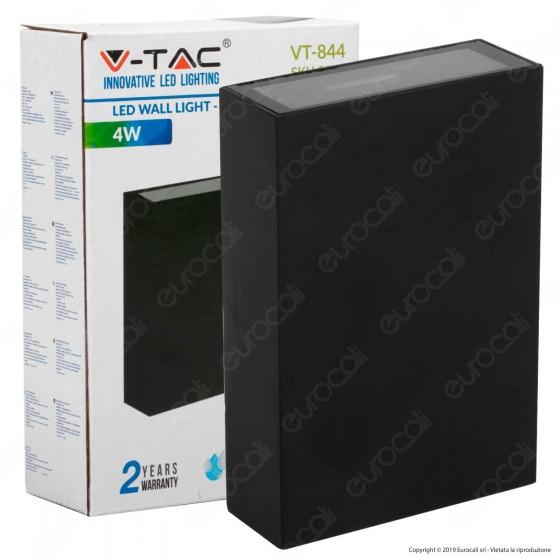 V-Tac VT-844 Lampada da Muro Wall Light Nera con Doppio LED COB 4W - SKU 8561 / 8563