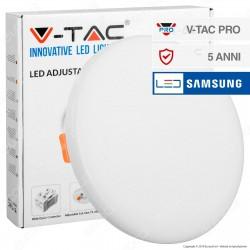 V-Tac PRO VT-625 Pannello LED Rotondo 24W SMD da Incasso Regolabile con Driver con Chip Samsung - SKU 739 / 740 / 741