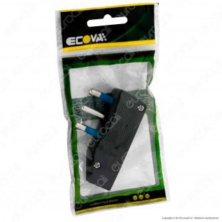 Ecova Spina Singola 16A Salvaspazio Reversibile con Uscita Cavo a 90° Colore Nero - Mod. 33030