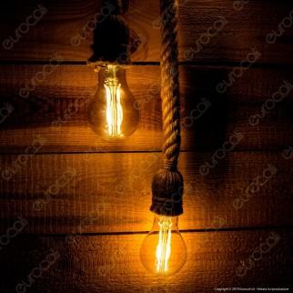LED Line Lampadario in Corda con Portalampada per 2 Lampadin2 E27 - mod. 249884