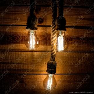 LED Line Lampadario in Corda con Portalampada per 3 Lampadine E27 - mod. 249891