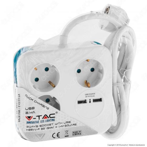 V-Tac Multipresa Salvaspazio 3 Posti e 2 Prese USB Colore Bianco - SKU 8799