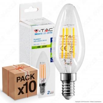 10 Lampadine LED V-Tac VT-1986 E14 4W Candela Filamento - Pack Risparmio