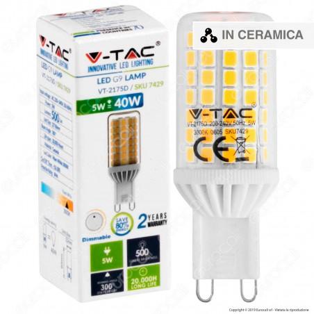V-Tac VT-2175D Lampadina LED G9 5W Tubolare Dimmerabile IP44 - SKU 7429 / 7430 / 7431