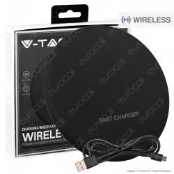 V-Tac VT-1210 Caricatore Wireless Compatibile con Ricarica QI Output 10W Colore Nero - SKU 7708
