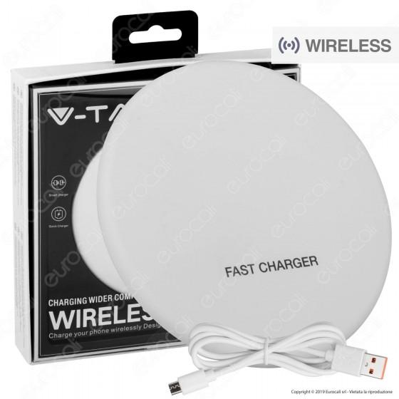 V-Tac VT-1210 Caricatore Wireless Compatibile con Ricarica QI Output 10W Colore Bianco - SKU 7709
