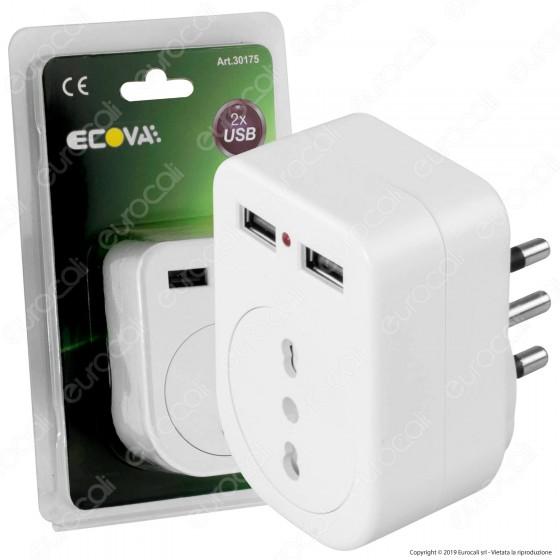 Ecova Adattatore Singolo con 2 Porte USB colore bianco - mod. 30175