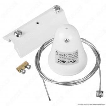 V-Tac Kit Sospensione Singola in Acciaio per Track Light a Binario Colore Bianco - SKU 3566